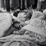 Where children sleep - Syrian children waking up inside their tent